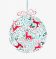 Merry Christmas retro bauble ornament decoration vector image vector image