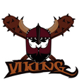 emblem Viking warrior skull logo vector image