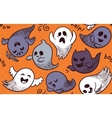 Halloween ghosts seamless pattern vector image