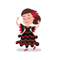 little girl wearing red and black dress national vector image
