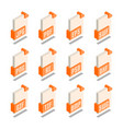simple set of file format 3d isometric icons vector image