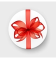 White Gift Box with Transparent Red Scarlet Bow vector image