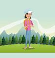 young girl backpack cap landscape background vector image