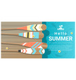 hello summer background with canoe paddles vector image
