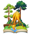 Giraffe drinking water in the book vector image