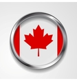 Abstract button with metallic frame Canadian flag vector image