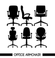 Black modern office armchair set in outlines over vector image