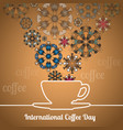 international coffee day card with silhouette cup vector image