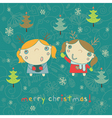kids Christmas card vector image