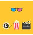 3D glasses Movie reel Open clapper board Popcorn vector image