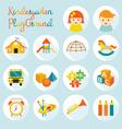 Kindergarten Preschool Objects Icons Set vector image