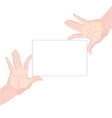 Human hands holding blank paper vector image