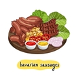 Assorted delicious grilled sausage vector image