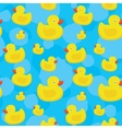 Cute yellow ducks seamless pattern on blue vector image