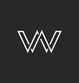 Monogram letter W logo weave thin line style vector image