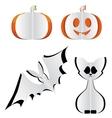 Pumpkin bat and cat vector image