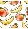 Seamless pattern with peach and banana vector image