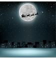 Santa flying deer moon vector image