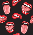 Lips pop art seamless pattern3 resize vector image vector image