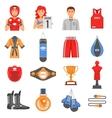 Boxing Ammunition Flat Color Icons Set vector image