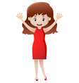 teacher mother standing with hands in air vector image