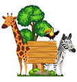 wooden sign with wild animals in zoo vector image