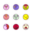 set of colorful face expression icons vector image