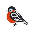 bullfinch bird colorful cartoon character vector image