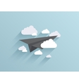 flat origami airplane icon background vector image vector image
