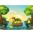 A turtle and the two frogs at the river vector image vector image