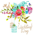Watercolor floral background with bird cages for vector