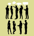 People talking with speech bubbles silhouette vector image