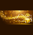 Golden box with stars and confetti vector image vector image