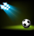 Bright spot lights and illuminated soccer football vector image