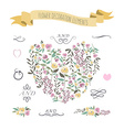 colorful flat design style foral heart r vector image