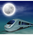 High-speed train at night with full moon vector image