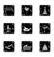 Holiday icons set grunge style vector image