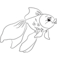 Coloring cartoon goldfish vector image vector image