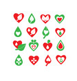 green and red organic natural biology icon set vector image