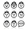 Baby girl faces avatar icons set vector image
