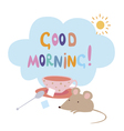 Card with mouse and sugar cubes vector image