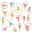 Set Of Color Gymnast Girl Figures vector image