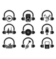 black headphone with music icons set vector image