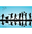 Group of children silhouettes playing outdoors vector image