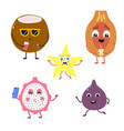 set of funny characters from fruits and coconut vector image