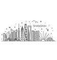 shanghai architecture line skyline vector image