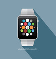 smart watch wearable technology isolated on blue vector image