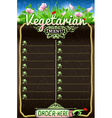 Vegetarian Board Menu for Bar or Restaurant vector image