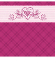 hand draw hearts on checked pink background vector image