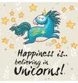 Happy card with cute unicorn cartoon vector image